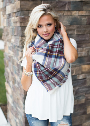 Perfect for Fall Oversized Blanket Scarf Burgundy