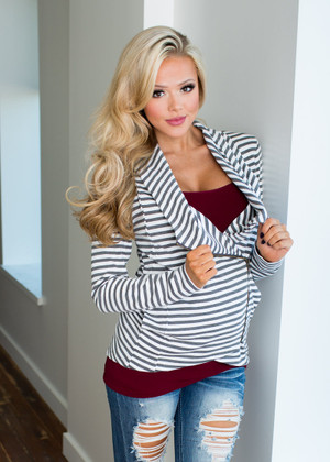 Completely Cozy Striped Jacket Gray CLEARANCE