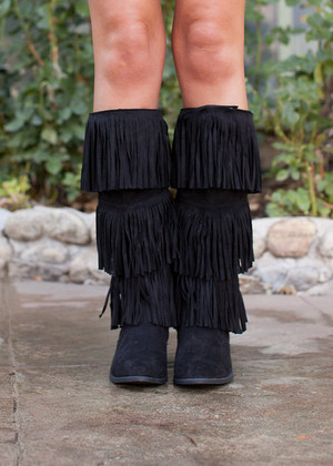 Three Tiered Fringe Boots Black CLEARANCE