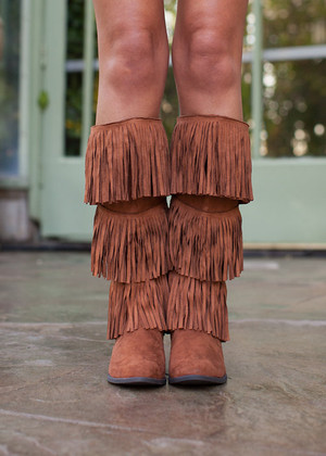 Three Tiered Fringe Boots Dark Rust CLEARANCE