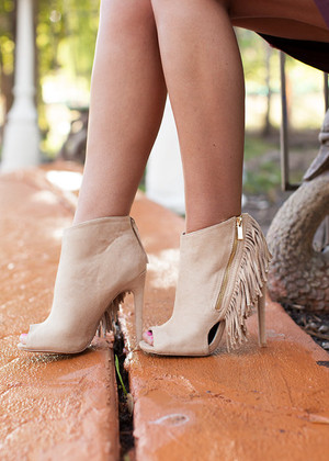Open Toe Fringed Heeled Booties CLEARANCE