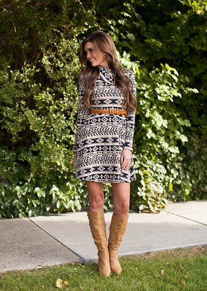 Serene and Soft Dress Taupe/Black CLEARANCE
