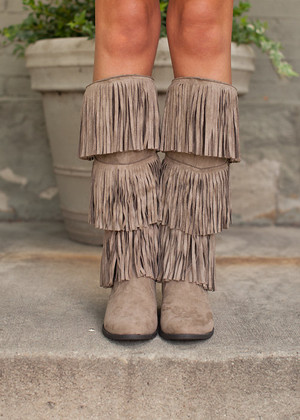 Three Tiered Fringe Boots Taupe CLEARANCE