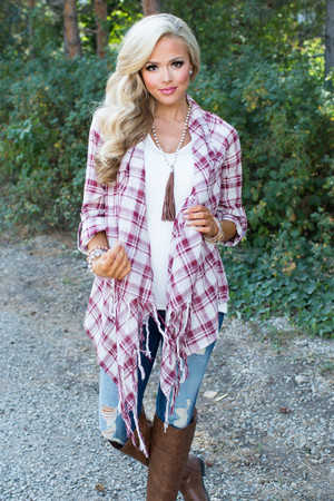 Hipster Plaid Cardigan Burgundy CLEARANCE