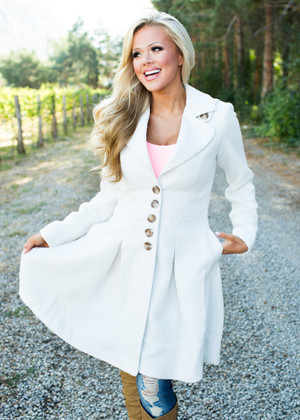 Most Elegant Pea Coat White CLEARANCE
