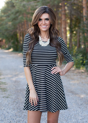 Fall in Love With Me Striped Dress Black CLEARANCE