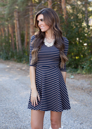 Fall in Love With Me Striped Dress Navy/Mocha CLEARANCE
