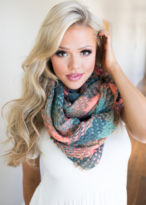 Checkered Knitted Scarf Emerald Scarf