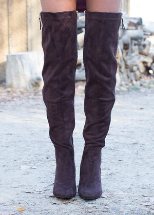 Suede Over The Knee Boots Brown CLEARANCE
