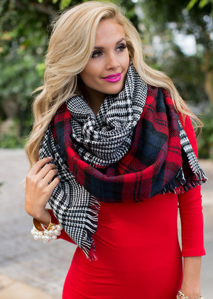 Twice the Design Scarf Red/Navy/Black