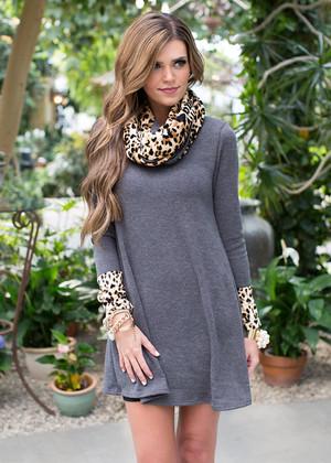 Memories of You Dress Charcoal/Cheetah CLEARANCE