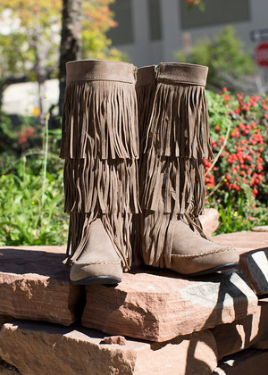 Fringe Moccasin Boots Taupe CLEARANCE