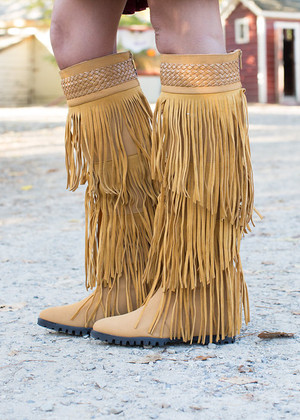 Workin it Fringe Boots Mustard CLEARANCE