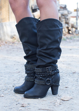 Foxy Jeweled Heel Boots Black