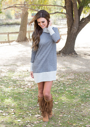 Free Falling Sweater Dress Charcoal