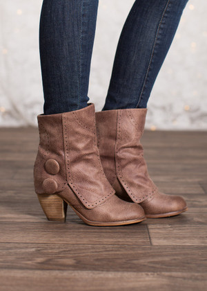 Fashion Show Booties Dark Taupe CLEARANCE
