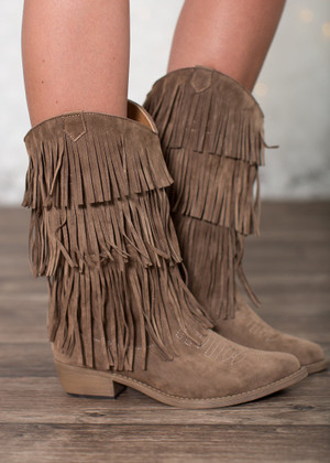 Something Right Fringe Boots Taupe CLEARANCE