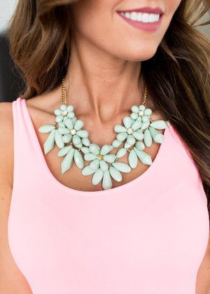 Blossoms of Love Necklace Mint CLEARANCE
