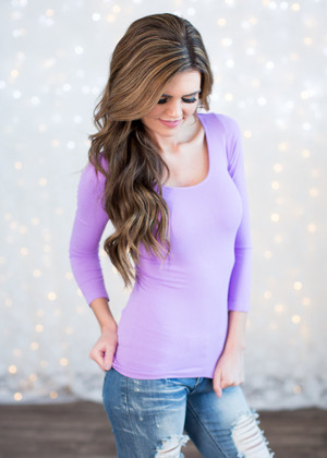 3/4 Sleeve Lavender Seamless Top CLEARANCE