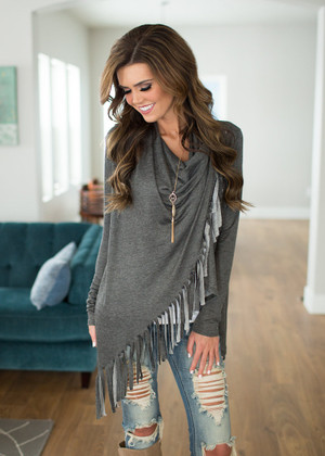 Fringed and Fabulous Crossed Top Charcoal