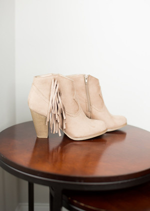 Walk in the Park Side Fringe Booties Taupe