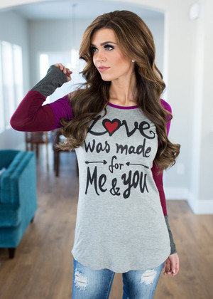 Love Was Made for Me and You Color Block Top Magenta