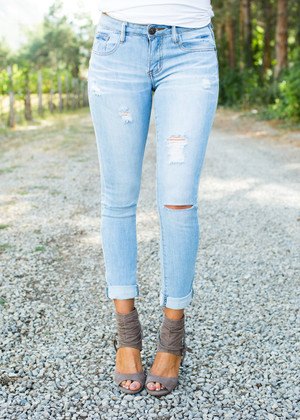 Classically Distressed Light Denim Jeans