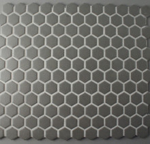 Unglazed Black Hexagonal Mosaic 23mm