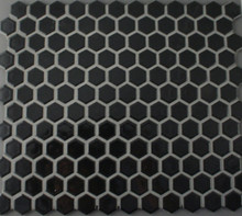 Black Gloss Hexagonal Mosaic 23mm