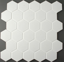 White Hexagonal Mosaic Tile Matt  51mm
