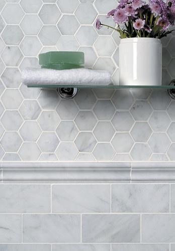 carrara subway marble wall tile 75x150mm image 1