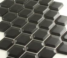 Matt Black External Honeycombe Mosaic Tile 47x60mm