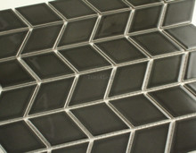 48x48mm Rhombus Black Gloss Porcelain Mosaic