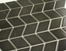 48x48mm Rhombus Black Gloss Porcelain Mosaic