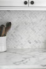 Carrara Marble Herringbone Mosaic 48x23mm -