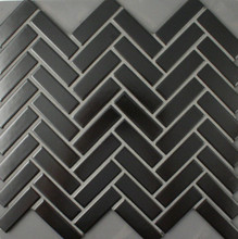 Black Satin Glazed Porcelain Herringbone Mosaic