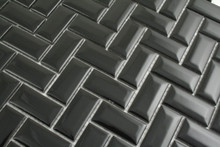 23x48mm  Black Gloss Bevel Edge Herringbone Mosaic