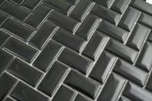 23x48mm  Black Gloss Bevel Edge Herringbone Mosaic