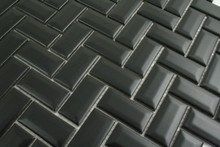 23x48mm  Black Matt Bevel Edge Herringbone Mosaic