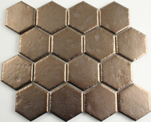Metal Plated Antique Hexagon Mosaic