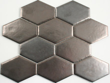 Antiqued Metal Plated Honeycombe Mosaic