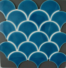 Blue Craquelle Fan Mosaic