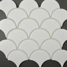 Matt White Porcelain Fan Mosaic