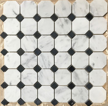 Carrara Octagon with Polished Nero Marquina Dot Mosaic