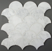 Carrara Marble Honed Fan Mosaic
