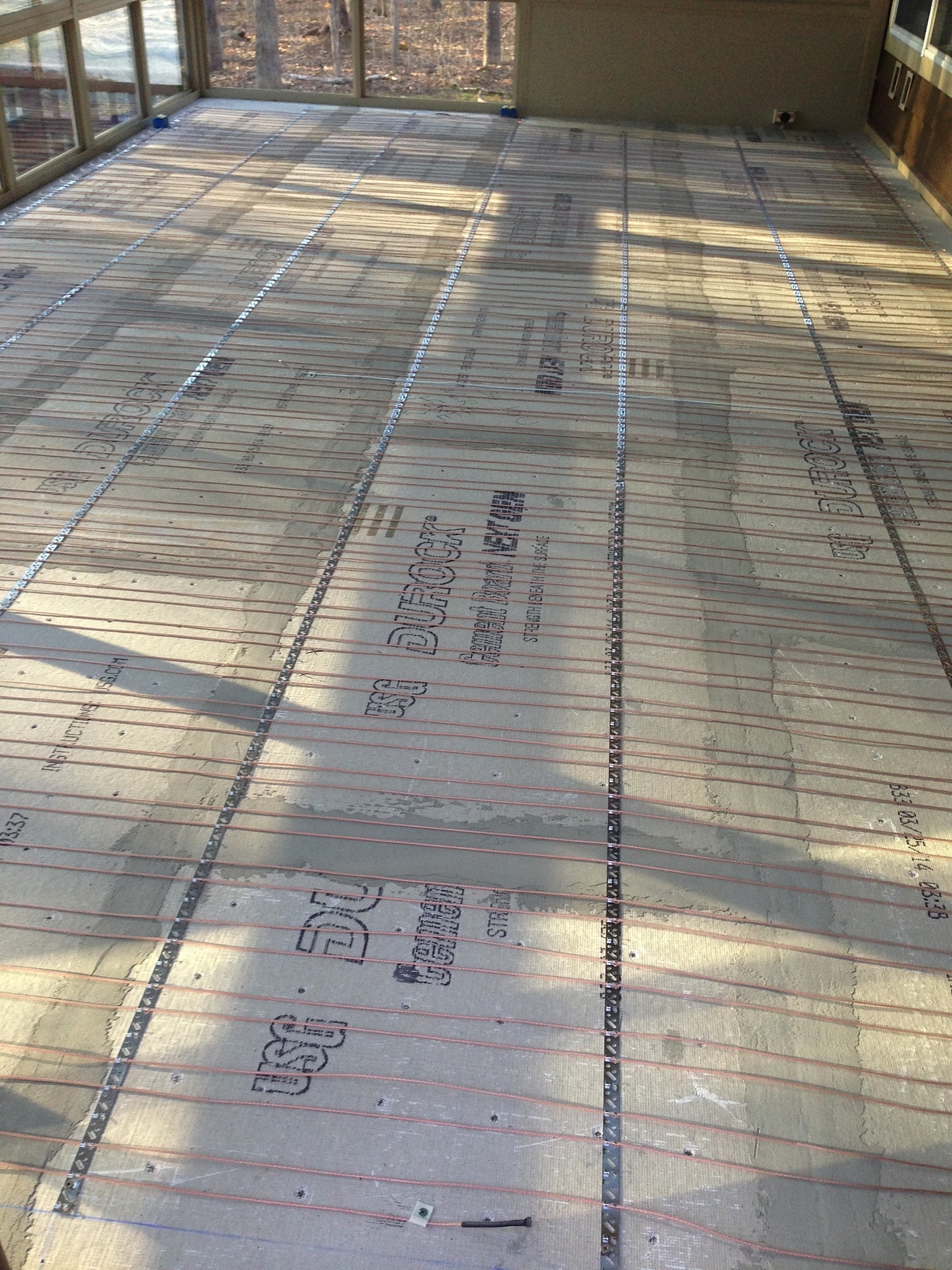 Renovation inspiration sunroom with 13x13 thrill rock warm heat overall view of the warm tiles wire all 1333 feet of it tim chose to embed it in a self leveling underlayment no pictures of that rather then a scratch dailygadgetfo Choice Image