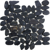 Tahitian Black Flat Pebble Mosaic