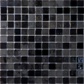 "BLACK LUX • Lux Collection by Vidrepur • Recycled 1"" x 1"" Mosaic Glass Tiles"