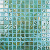 "BRUSHED BLUE / GREEN • Titanium Collection by Vidrepur • Recycled Mosaic 1"" x 1"" Glass Tiles"