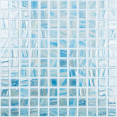 "BRUSHED CELESTIAL BLUE / WHITE IRIDESCENT • Titanium Collection by Vidrepur • Recycled Mosaic 1"" x 1"" Glass Tiles"